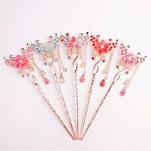 1 pieza de horquillas de pelo talladas de Metal con patrón de flores de Color aleatorio para novias horquillas retro chinas accesorios para el cabello de boda