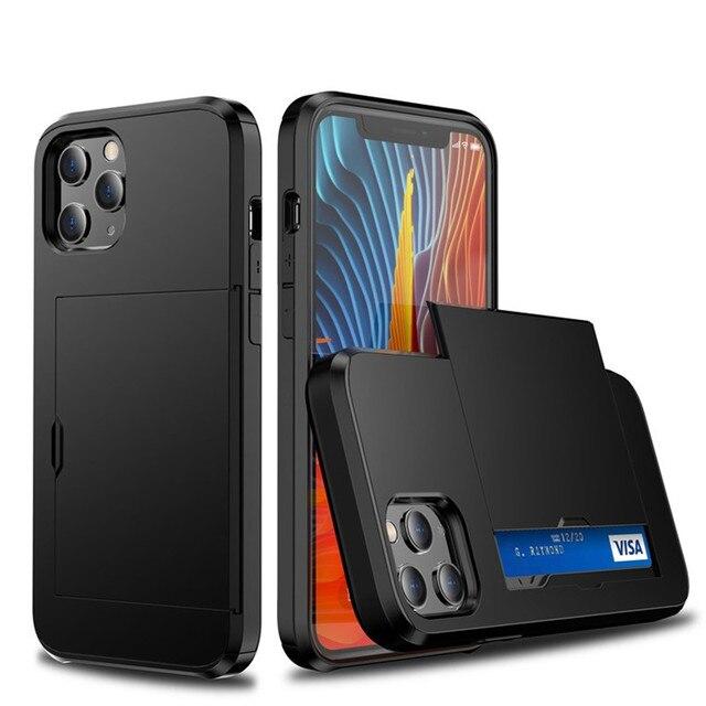 Portafoglio nascosto con porta carte custodia per telefono per iPhone 12 11 Pro Max Mini X XS XR 7 8 Plus SE 2 custodia protettiva antiurto