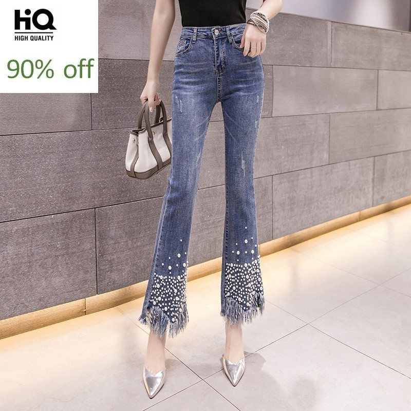 Chic Spring New Asymmetrical Embroidered Flares Tassel Women Jeans Pants Fashion High Waist Ankle Length Slim Female Flare Pants