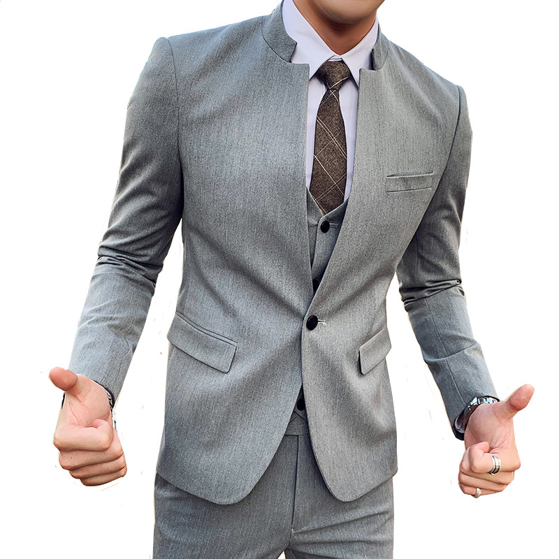 Suit Suit British Style Men's Stand-up Collar One-button Coat With Pants Vest Fashion Trend Fashion Groomsman Slim Suits