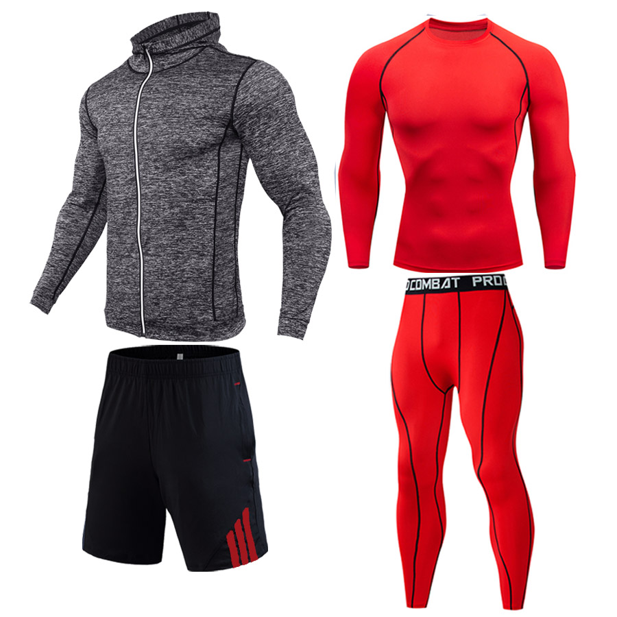 man tracksuit Factory direct New free shipping Full Winter warm sportswear Gym compression suit Dry tights bodybuilding long