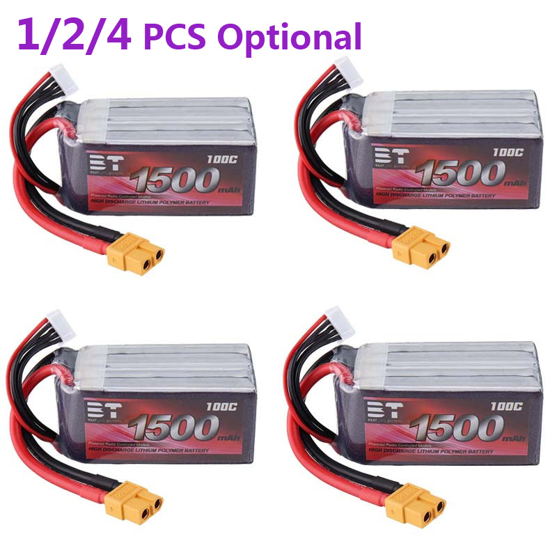 1/2/4 PCS BT 14.8V <font><b>1500mAh</b></font> <font><b>100C</b></font> <font><b>4S</b></font> XT60 Plug <font><b>Lipo</b></font> Battery for RC Racing Drone Quadcopter Multicopter DIY Accessories Parts image