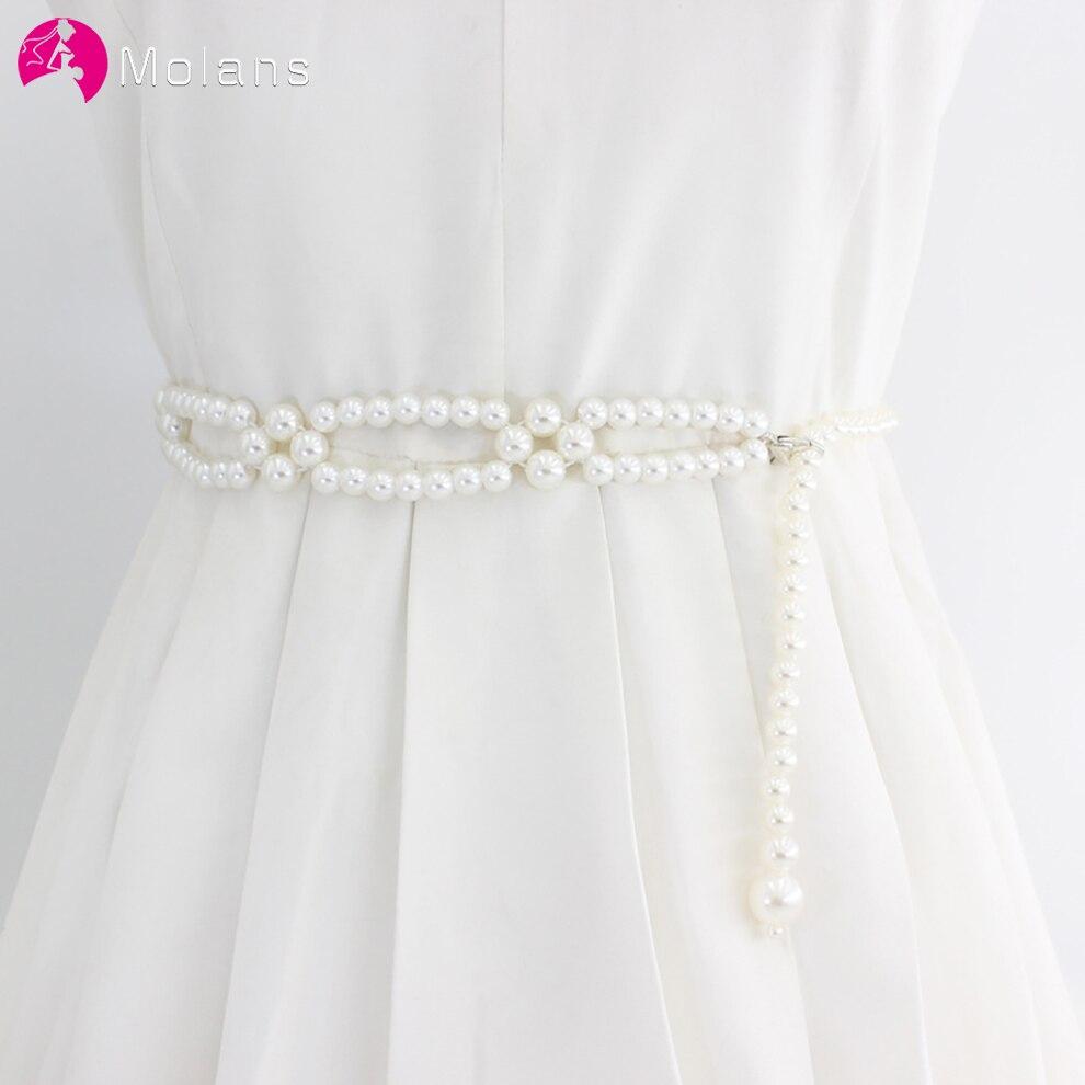 Molans Elegant Women Pearl Belt Waist Belt Elastic Buckle Pearl Chain Belt Female Girls Bride Dress Strap Wedding Accessories