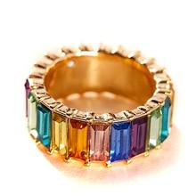 New Alloy Semi-precious Stone Ring Explosion Jewelry Color Personality Fashion Geometric Womens