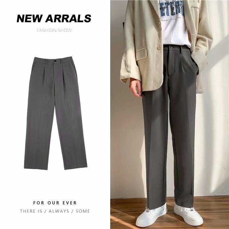 Summer Thin Suit Pants Men's Fashion Business Society Mens Dress Pants Korean Loose Straight Wide-leg Pants Men Trousers S-4XL