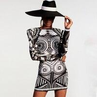 HIGH QUALITY Newest Paris Fashion 2020 Designer Runway Dress Women's Long Sleeve Geometric Pattern Knit Dress