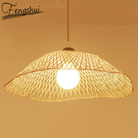 China Bamboo LED Pendant Lights Creative Restaurant Pendant Lamps Room Decoration Hanglamp Kitchen FixturesWooden Hanging Lamps