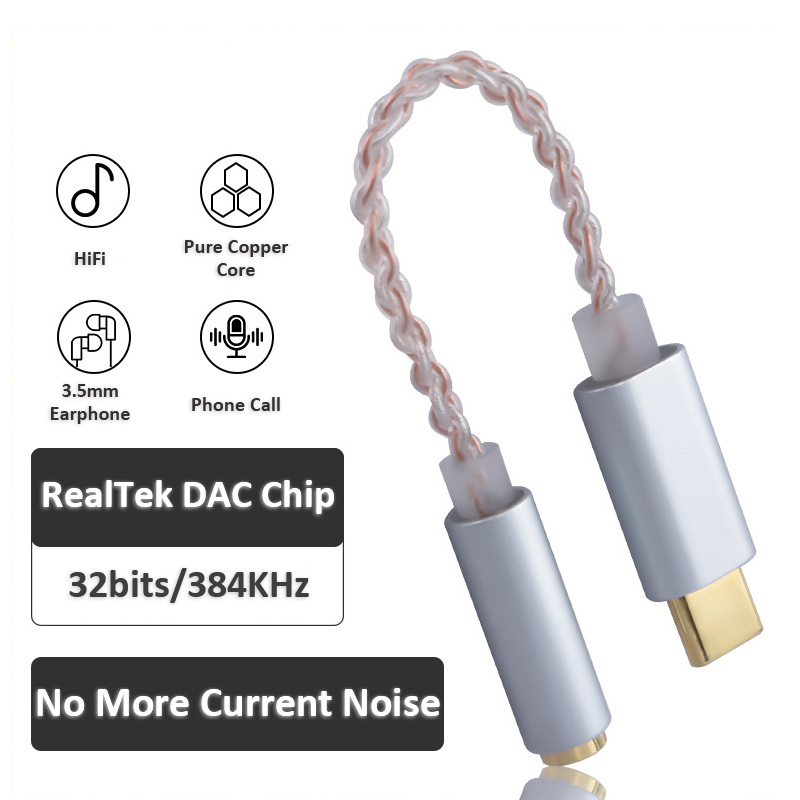 HiFi Audio Type-C DAC Cable Converter USB DAC To 3.5mm Headphone Amplifier Adapter For Note 10 Pixel 2 3 Android IPad Pro PC Mac