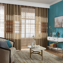 Simple Modern Stitching Embroidery Shading Curtains for Living Dining Room Bedroom Delicate Cutout