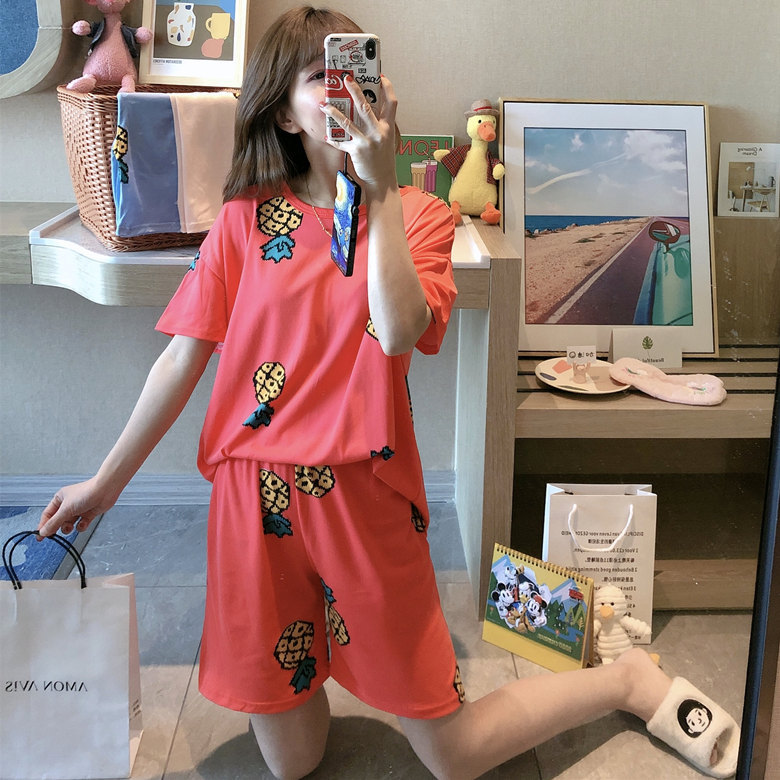 Summer Pajamas WOMEN'S Short Sleeved Set Red Pineapple M -Xxl 2020 New Style Home-feeding Filming