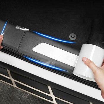 Protector de Borde de puerta lateral anticolisión Universal para coche, umbral de puerta, placa de protección, tira adhesiva, umbral de puerta transparente, cinta de alféizar