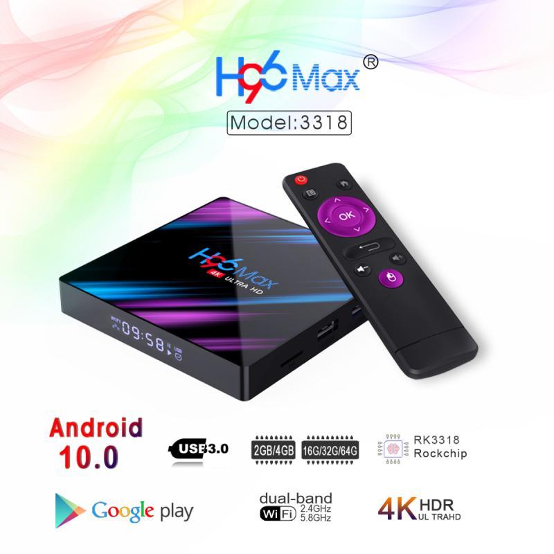 10.0g & 2.4g wifi bluetooth 4k usb 5.8 iptv espanha boxe hdr 3.0 caixa de tv inteligente android 2020 16/32/64g transpeed android 10 caixa de tv