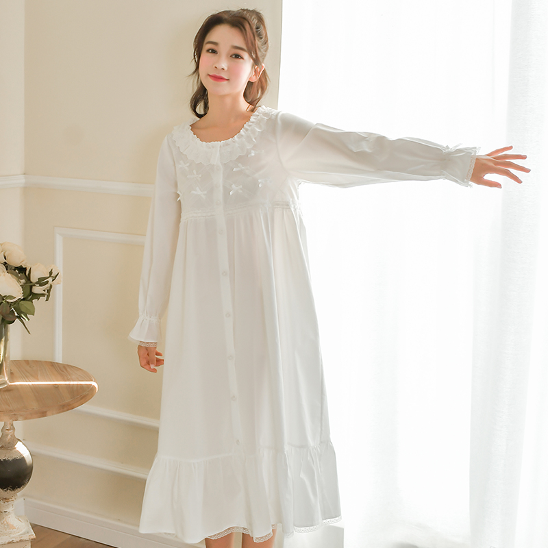 Womens Nightgown Sleepwear Spring Pijama Long Sleeve Loungewear Ladies Sleeping Dress Down Home Clothes For Women Nightdress