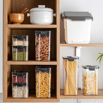Eco-Friendly Kitchen Food Storage Containers Refrigerator Organizer Tea Bean Grain Food Storage Box Sealed Container Clear Case 4