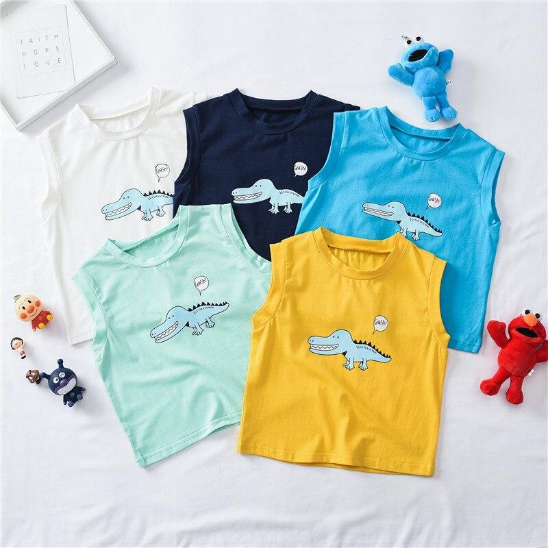 Summer CHILDREN'S Cartoon Cotton Print Vest Men And Women Baby Sleeveless Vest Summer Wear Childrenswear New Style
