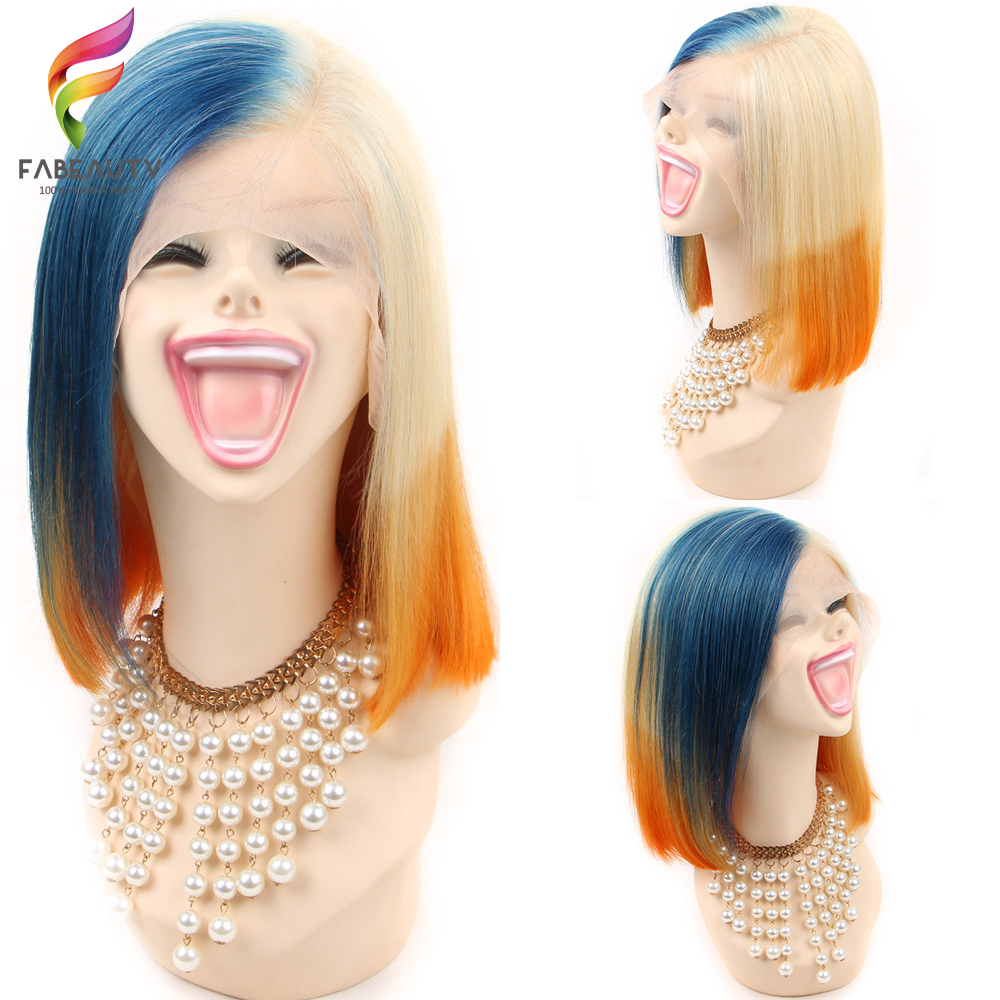 Blue/Orange/613 Blonde Lace Front Wig Ombre Straight Bob Lace Wig 13x4 Brazilian Short Human HairWigs Pre Plucked Remy Hair image