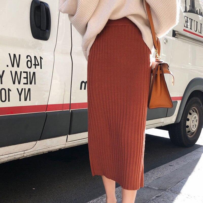 Image 5 - Хит, Женский Осенний вязаный костюм из двух предметов, Однотонный женский Повседневный свитер, наборы юбок карандашей, зимний теплый вязаный костюм из двух предметов для женщин-in Женские комплекты from Женская одежда on AliExpress