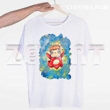 T-shirt imprimé humoristique pour homme, vêtement avec dessin animé Ponyo on The hill