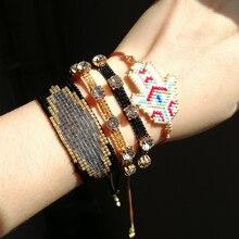 SHINUSBOHO Statement Jewelry Crystal CZ Bead Bracelets for Women MIYUKI Evil Eye pulseras Hamas Hand Bracelet Men shinusboho lucky eye jewelry pulseras miyuki bracelet for women fashion crystal beads with tassel bracelets bileklik