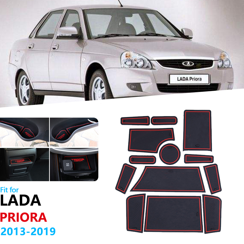 Anti-Slip Rubber Gate Slot Cup Mat For Lada Priora 2013 2014 2015 2016 2017 2018 2019 Accessories Stickers VAZ 2170 2071 2172