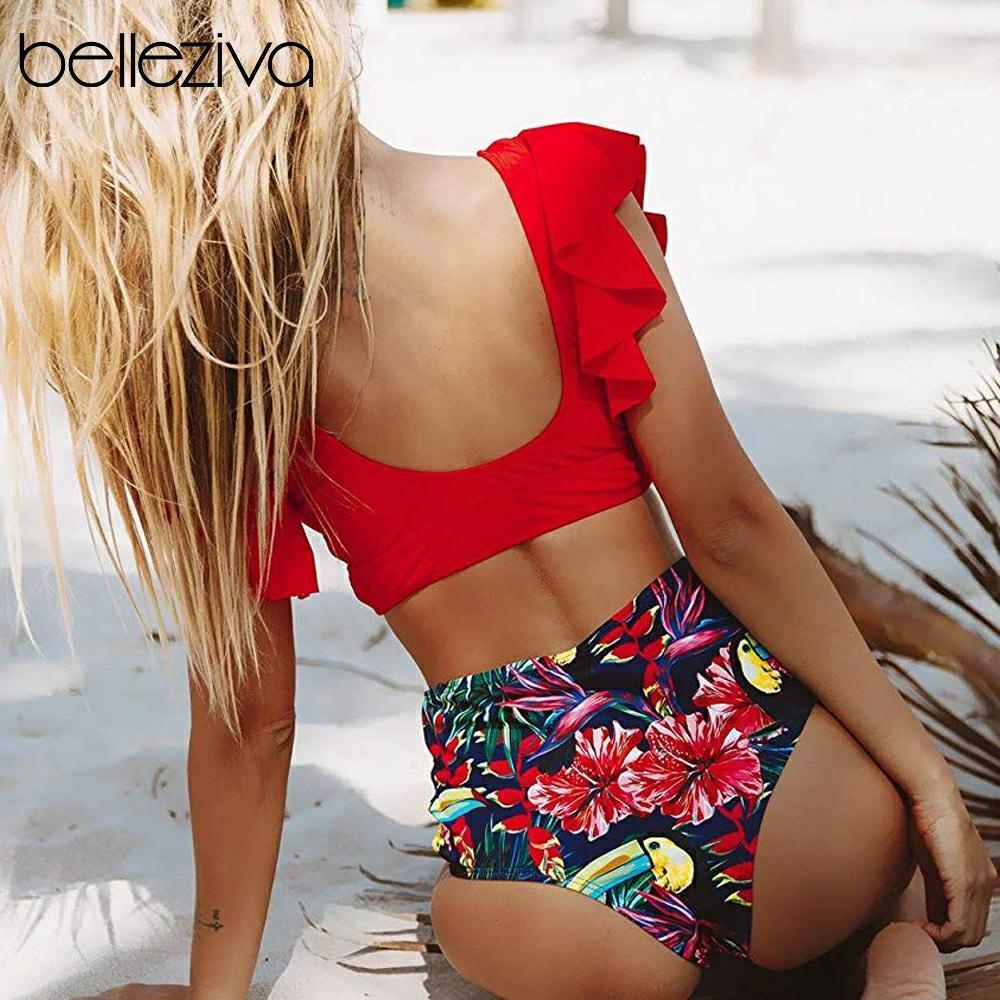 Belleziva Floral Ruffled Hem Bikini Set Women Flora V-neck High-waisted Two-Piece Swimsuit Beach Bathing Suit Swimwear Biquinis