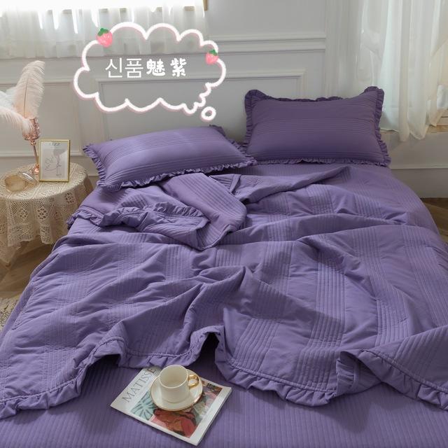Koreański czysty kolorowy piasek-zmiękczana bawełna letnia fajna kołdra prosta klimatyzacja kołdra koronki trzyczęściowy zestaw łóżko domowe okładka tanie tanio Wełniana Zestawy poszew na kołdry CN (pochodzenie) 1 5 m (5 stóp) 1 8 m (6 stóp) Zakwalifikowana 100tc W jednym kolorze