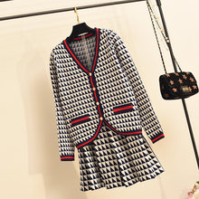 Amolapha Women 2019 Autumn Single Button Knit Cardigan Jacket+Mini Skirts Two Pieces Sets Pattern Knit Skirt Suit(China)