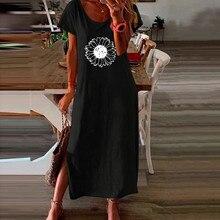 Maxi Dress Robe Floral-Print Cotton Women Beach Pullover Short-Sleeve Linen Bohemian