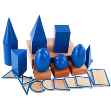 Large 3D Shapes Geometric Solids Wooden Montessori Geometry Set Toys Math Games Toys Blocks Kids Preschool Learning Toys Gifts