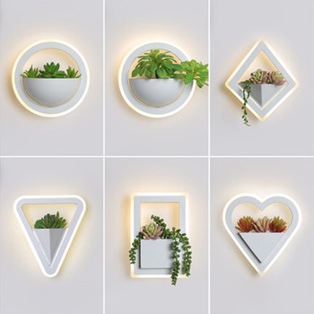 Modern Led Wall Lights For Bedroom Living Room Bedside White Color Wall Lamp Fixtuers Wall Sconce With Plant