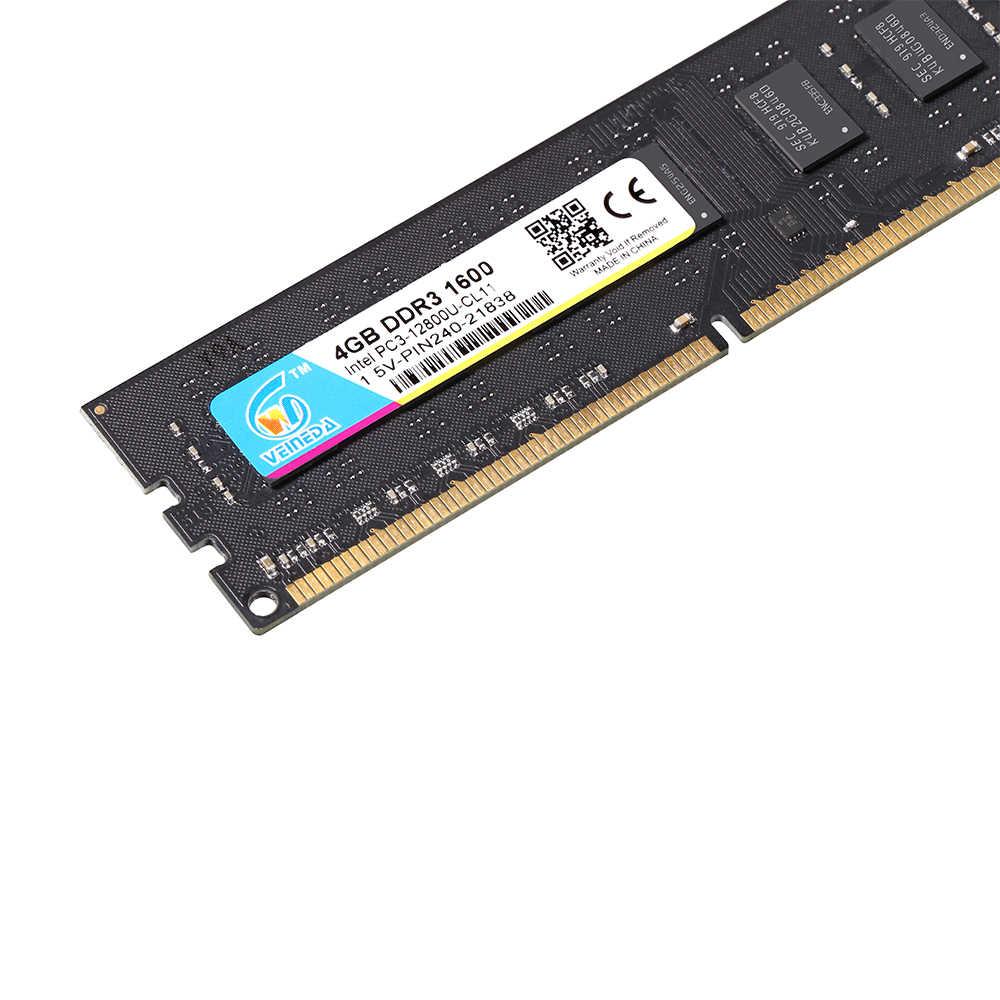 Veineda DDR3 RAM 4 GB DDR3-1333 Cho DIMM Tương Thích Tất Cả Intel AMD Để Bàn Mainboard PC3-10600