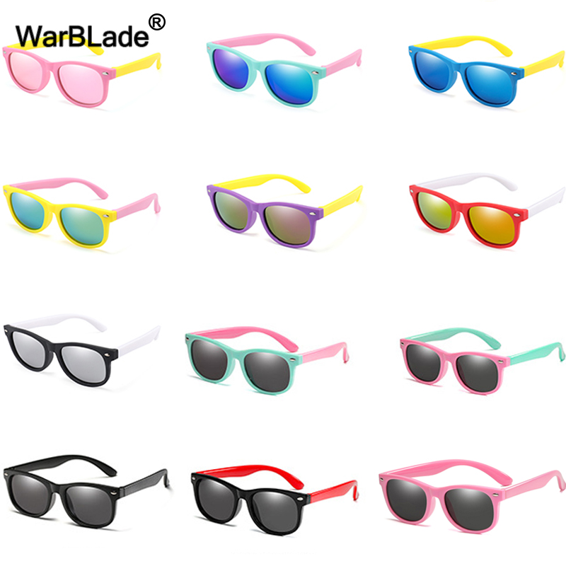 WarBlade Fashion Kids Sunglasses Children Polarized Sun Glasses Boys Girls Glasses Silicone Safety Baby Shades UV400 Eyewear