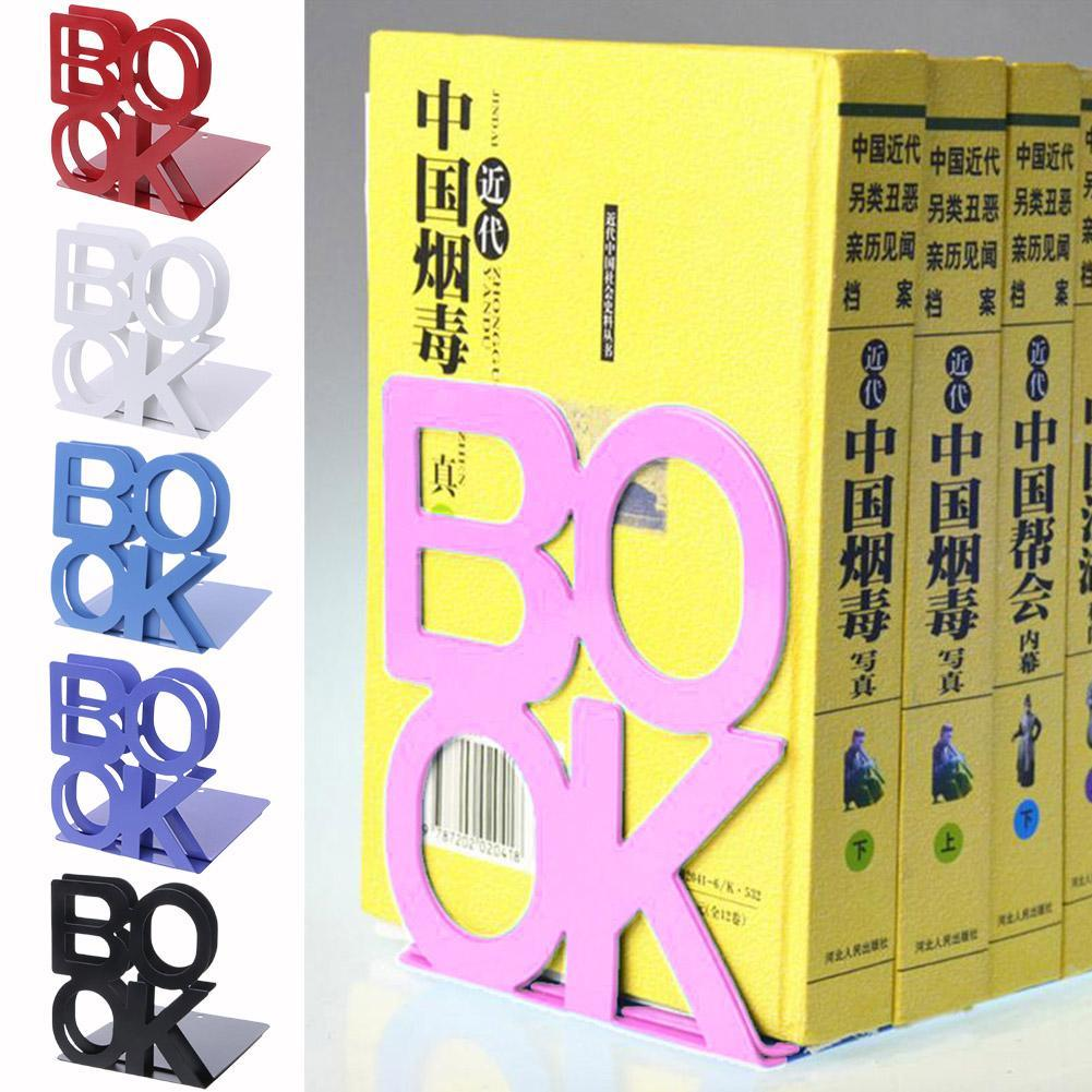 1PC Metal Bookends Stand Holder Shelf Organizer Desktop Support Portable Anti-skid Universal Holder Office School Supplies
