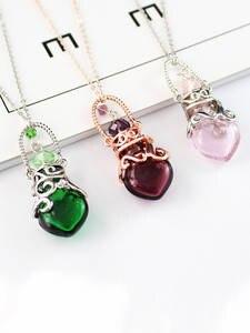 Necklace Small Perfume Fragrances Bottle Pendants Essential-Oil Glass Heart Women No