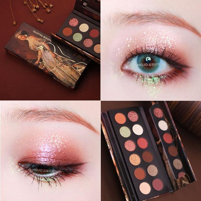 HOJO 12 Color Aristocratic Painting Eyeshadow Palette Shimmer Matte Pigmented Eye Shadow Powder Makeup Glitter Crystal Eyeshadow 5