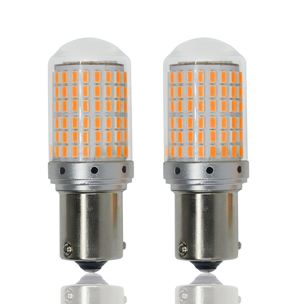1pcs of 144 SMD 3014 <font><b>Led</b></font> Chips Canbus <font><b>P21W</b></font> Car Reversing Rear Turn Signal Tail Light 1156 BA15S <font><b>Amber</b></font> image