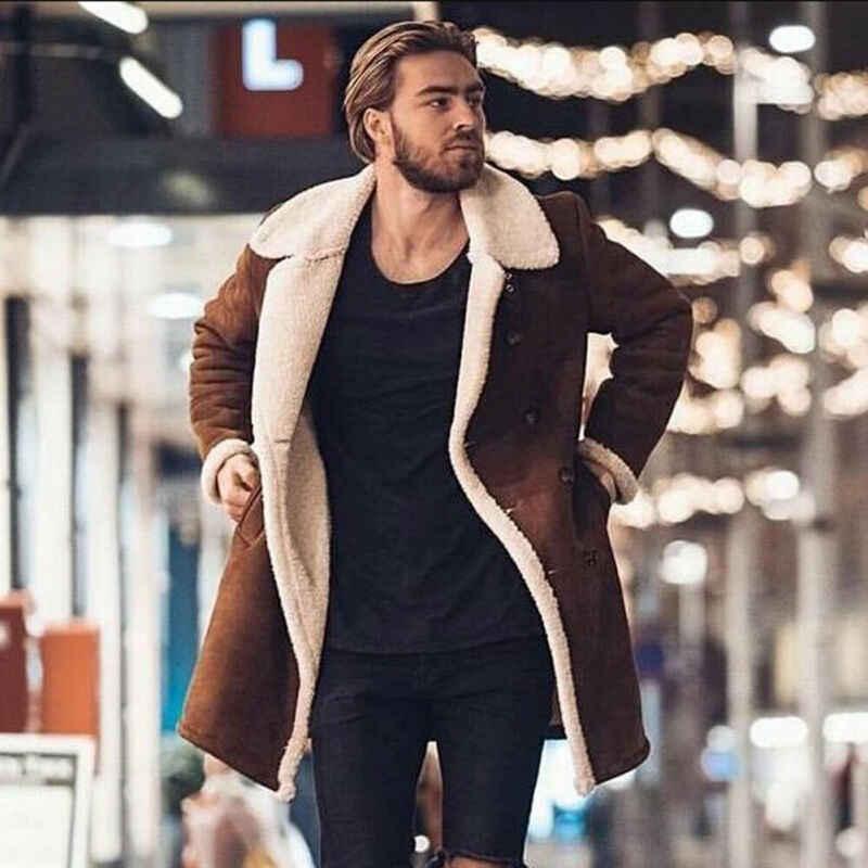 Faux Fur Fleece Faux Leren Jas Mannen Winter Bruin Suede Jasje Warme Bomber Lange Jassen Mannelijke Uitloper Thicken Jas Plus size