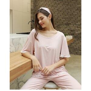 Image 4 - FINETOO Autumn Women Pajamas Sets Pink O Neck Homewear Large Size Girls Sleepwear Womens Pijamas Suit Home Clothes Pyjama Femme