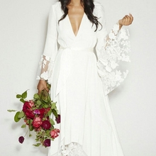 2018 New Arrival Fashion Bohemian Hippie Beach Long Sleeves V Neck Lace Flower Plus bridal Gown
