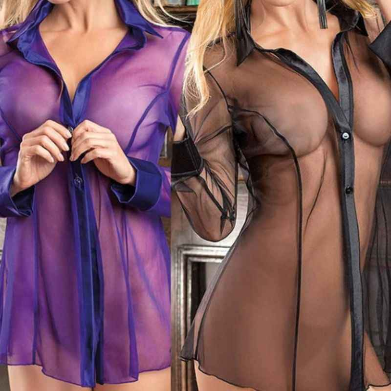 Women Button Lingerie Dress Transparent Clubwear Stripper Long Sleeve Blouse New