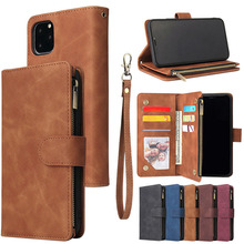 for iPhone 11 Pro Max Wallet Case Luxury Zipper Flip Leather Cover 6 6s 7 8 Plus XS XR X Multi Card Slots