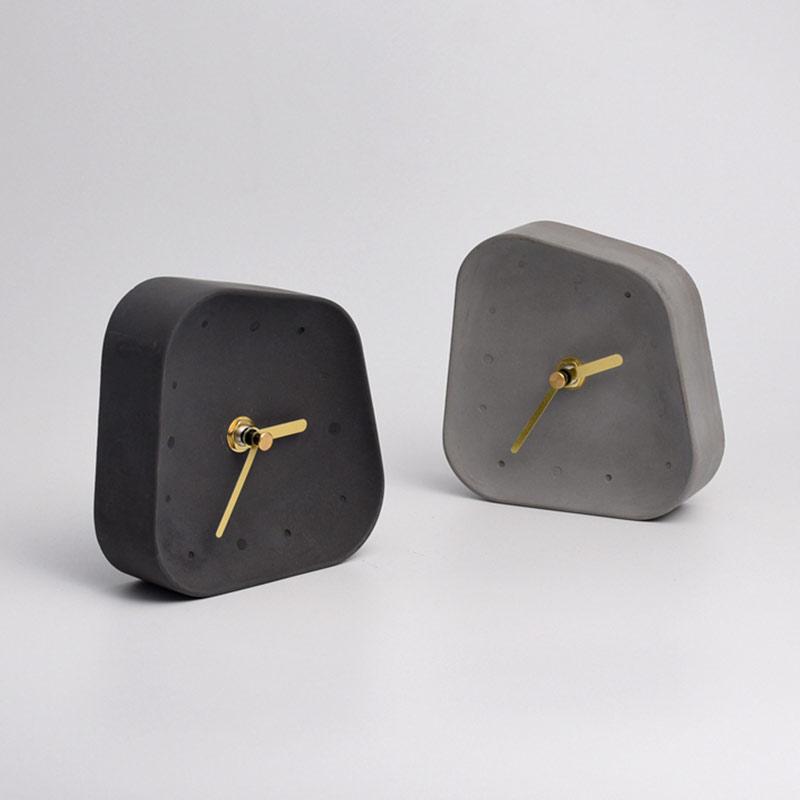 H87766562e814427096fa3162f0d869f7T Table Clock Desktop Decoration Mute Concrete Small Desk Clock