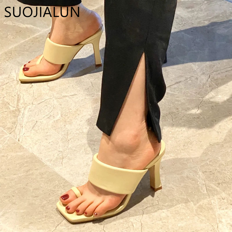SUOJIALUN NEW Sexy Women Slipper 2020 Summer High Quality High Quality Elegant Dress Shoes Slides Ladies Outdoor Sandal Shoes