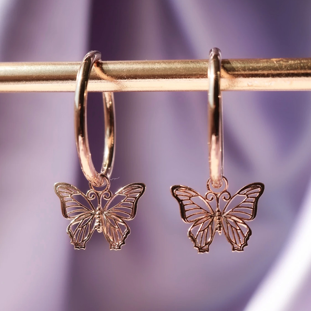Huitan Delicate Rose Gold Color Butterfly Women Drop Earring Cute Bow Hoop Wedding Dancing Party Daily Wear New Trendy Jewelry(China)