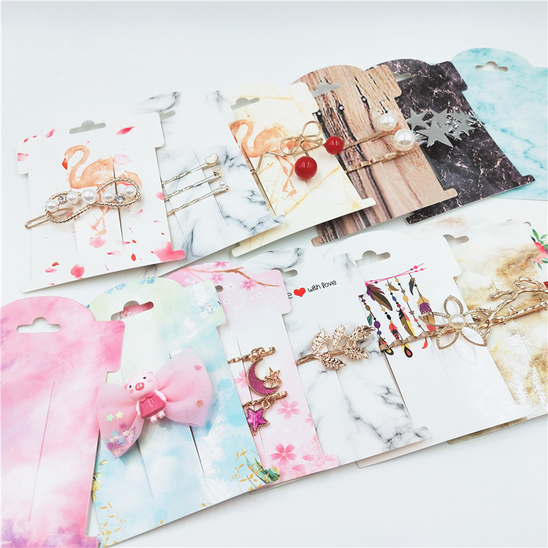 50Pcs Multi-Style Paper Hairpin Card 11*8cm  Vintage Classic Jewelry Display Cards Kraft Women Hair Clip Packing Cards