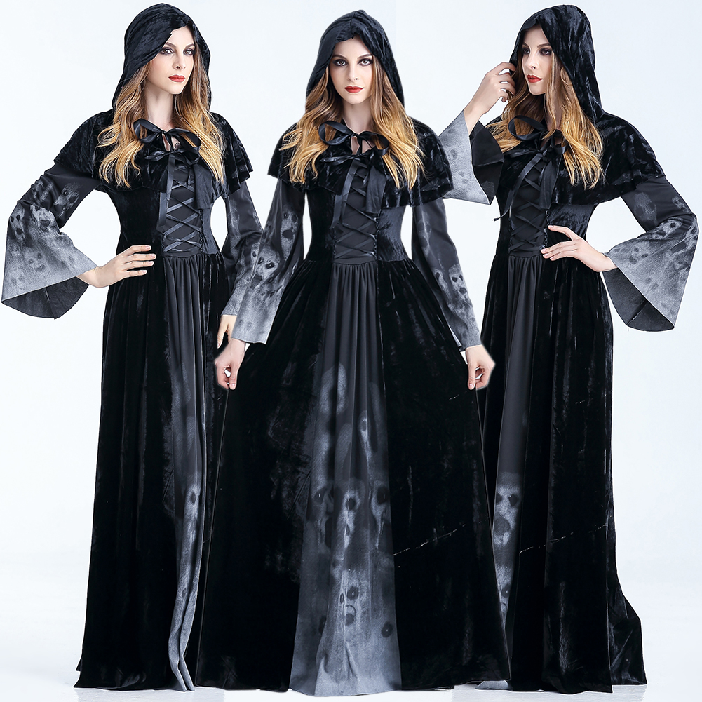 <font><b>Women</b></font> <font><b>Halloween</b></font> Festival Party Long Sleeve Fancy With Cloak <font><b>Sexy</b></font> Witch <font><b>Dress</b></font> Scary Crew Neck Cosplay Costumes Horror With Strap image