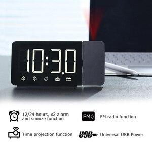 Image 2 - Цифровые электронные настольные часы, функция повтора, FM радио, громкие часы со светодиодной подсветкой и проекцией времени