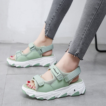 Plus size 35-42 High Heeled Sandals Female Summer 2020 Women Thick Bottom Shoes Wedge with Open Toe Platform Shoes beach Shoes platform open toe heeled wedges