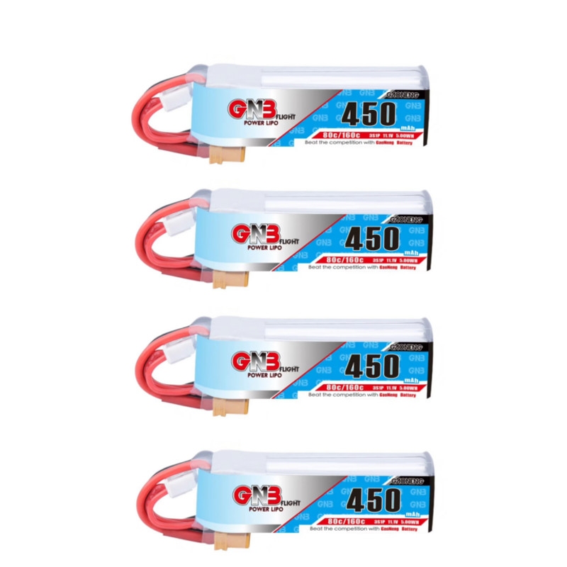 4PCS Gaoneng GNB 450MAH 80C 7.4V 2S 11.1V 3S 7.4V 4S 14.8V Lipo Battery XT30 JST For Betafpv Drone RC FPV Racing Drone Whoop