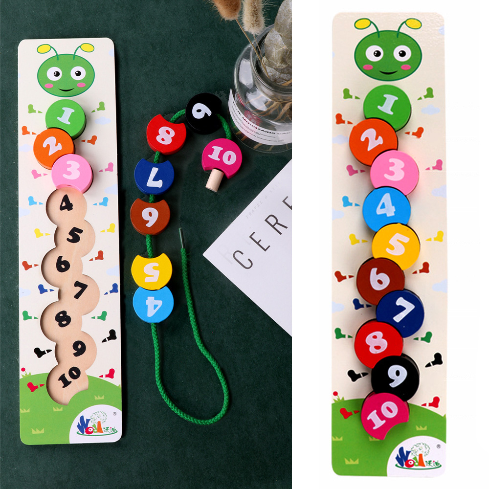 Wooden Toys Baby DIY Craft Toy Number Caterpillar Stringing Threading Wooden Blocks Beads Toy Monterssori Educational For Kids